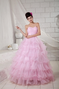 Organza Ruffles Baby Pink Beaded Ball Gown for Quinceanea