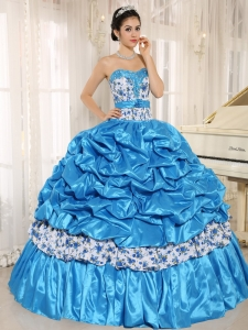 Printing Beaded Pick-ups Aqua Blue Quinceanera Gown Dress