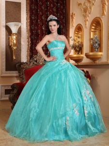 Turquoise Appliques Ball Gown for Quinceanera Organza