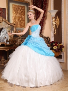 Handle Flowers Beaded Quinceanera Ball Gown White and Aqua