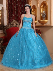 Sequined Baby Blue Quinceanera Ball Gown Spaghetti Straps
