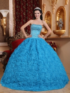 Rolling Flowers Quinceanera Dress Teal Ball Gown Beading