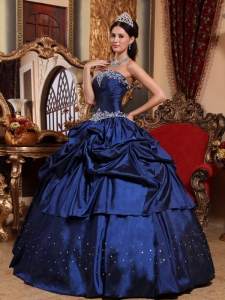 Beading Pick-ups Ball Gown Quinceanera Dress Royal Blue