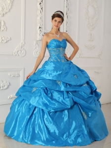 Appliques Quinceanera Dress Baby Blue for Sweet Sixteen