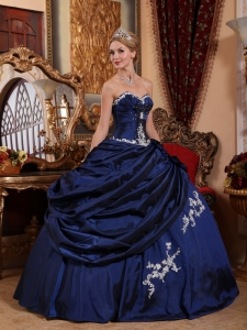 Navy Blue Ball Gown Appliques Pick-ups Quinceanera Dress