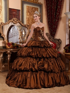 Chapel Train Pick-ups Quinceanera Dress Brown Appliques
