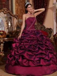 BurgundyOne Shoulder Pick-ups Quinceanera Dress Ball Gown