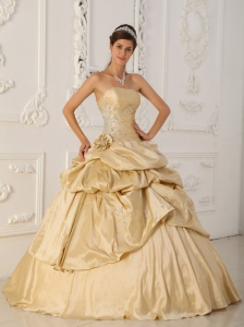 Hand Flowers Champagne Beaded Quinceanera Dress Appliques
