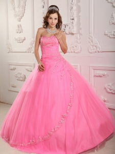 Beaded Quinceanera Dresses Appliques Rose Pink Ball Gown