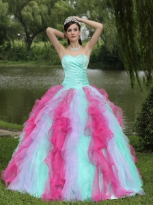 Colorful Quincenaera Dress for Graduation Beaded Ruffles