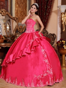 Embroidery Quinceanera Dress Pick-ups Coral Red Appliques