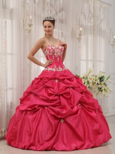 Sweetheart Appliques Quinceanera Gown Dress Coral Red