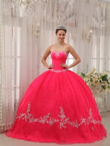 Appliques Sweet Sixteen Quinceanera Gown Dress Coral Red