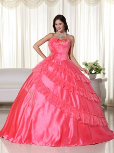 Quinceanera Ball Gown Coral Red Ruffled Layers Embroidery