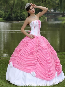 Lace Quinceanera Dresses Ball Gowns Rose Pink Pick-ups