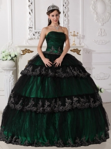 Dark Green Ball Gown Dress for Quinceanera Appliques