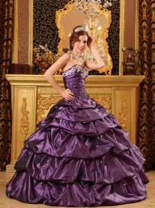 Dark Purple Quinceanera Ball Gown Pick-ups Appliques