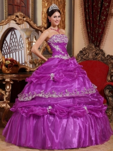 Purple Ball Gown Ruched Appliques Quinceanera Dress Organza