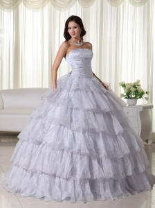 Ruffled Layers Gray Ball Gown for Quinceanera Beading