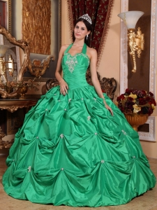 Quinceanera Dress Green Ball Gown Halter Appliques Pick-ups