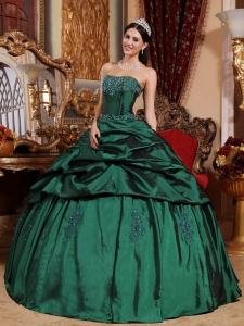 Strapless Green Ball Gown Quinceanera DresTaffeta Beaded