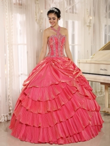 Halter Beaded Pleat Quinceanera Dress Gowns Watermelon Red