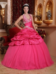Halter Ball Gown Appliques Hot Pink Quinceanera Dresses