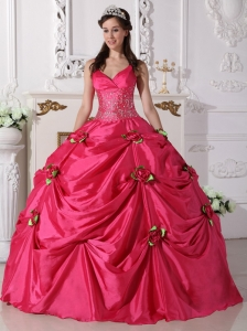 Straps Beaded Hot Pink Quinceanera Dress Ball Gown