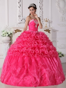 Embroidery Hot Pink Ball Gown Beading Quinceanera Dress
