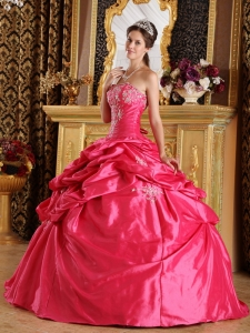 Hot Pink Appliques Pick-ups Quinceanera Dress for Sweet 16
