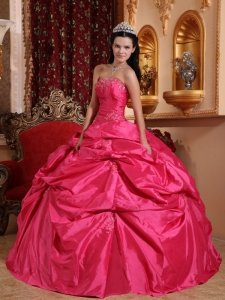 Pick-ups Hot Pink Ball Gown Beading Quinceanera Dress
