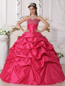 Hot Pink Quinceanera Dress Gown Beaded for Sweet Sixteen
