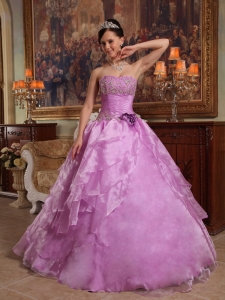 Ruch Flower Lavender Ball Gown Beaded Quinceanera Dress
