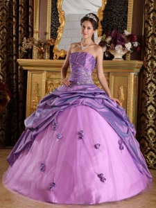 Handmade Flower Quinceanera Gown Dress Lavender Beading