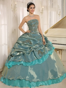 Layers Turquoise Embroidery Sweet Sixteen Quinceanera Dress