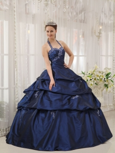 Halter Appliques Quinceanera Dress Navy Blue Ball Gown