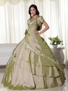 Handmade Flower Olive Green Appliques Quinceanera Ball Gown