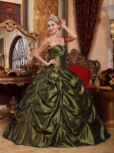 Beaded Olive Green Ball Gown Pick-ups Quinceanera Dress