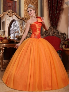 One Shoulder Beading Quinceanera Gown Orange Sweet 16