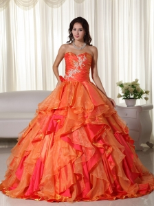 Layers Orange Red Ball Gown Appliques Quinceanera Dresses