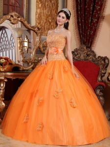 Ball Gown Orange Quinceanera Dress Sweetheart Appliques