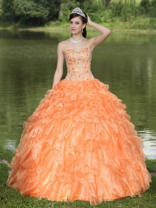 Layered Sweet 16 Quinceanera Dress Beaded Ruffles Orange