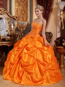 Orange Red Appliques Beaded Quinceanera Dresses Ball Gown