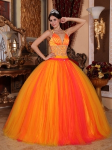 V-neck Beaded Quinceanera Dress Orange Red Ball Gown