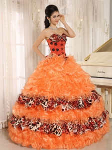 Leopard Orange Quinceanera Gown Dress Ruffled Appliques