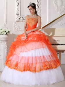 Beading Quinceanera Dress Appliques Orange and White Gown