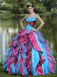 Zebra Colorful Spaghetti Straps Beading Quinceanera Dress