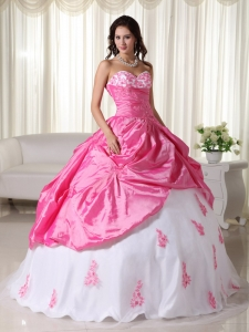 Pink and White Appliques Quinceanera Dress for Sweet Fifteen