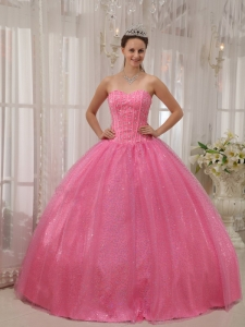 Sequined Rose Pink Beading Sweet 15 Quinceanera Dresses