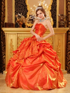 Ball Gown Orange Red Quinceanera Dress Handle Flowers